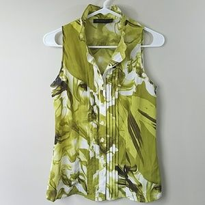 The Limited Green Print Ruffle Neck Tank Blouse